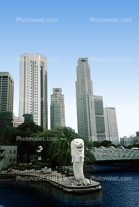 Merlion Statue Singapore, Skyline, Buildings, Skyscrapers, Downtown