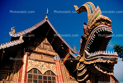 dragon, teeth, mouth, mean, fear, ornate, opulant, Bangkok Thailand