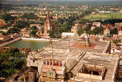 view from Sri Ranganathaswamy Temple in Tiruchirappalli (Trichy or Trichinopoly), Tamil Nadu, 1950's
