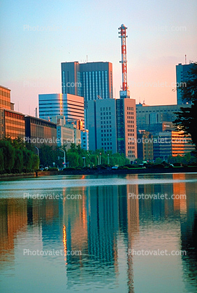 highrise buildings, cityscape, skyline, lake, tower, reflections, Tokyo