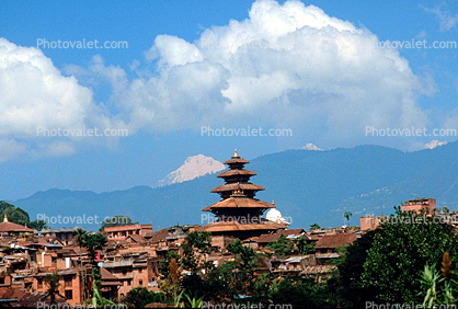 building, pagoda, mountains, clouds, Araniko Highway