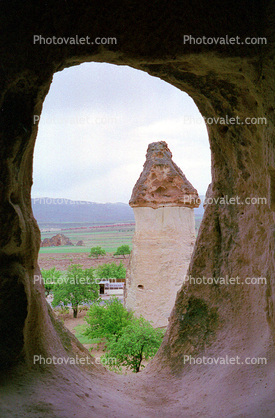 Tower, Trees, Cappadocia (Kapadokya), Cliff Dwellings, Cliff-hanging Architecture