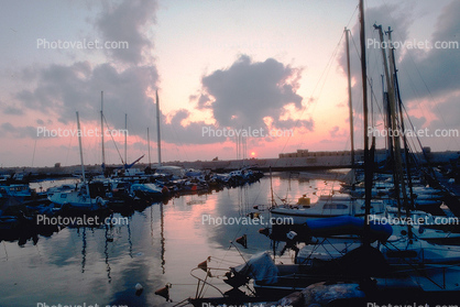 Jaffa, Harbor, Docks, Sunset