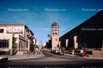 Cars, street, Bell tower, colonial church, buildings, La Serena