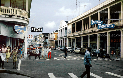Feoli, downtown, crosswalk, buildings, Buenaventura, city, shops, stores, balcony, 1950's