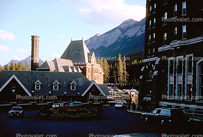Building, Hotel, cars, automobiles, vehicles, Banff, 1965, 1960's