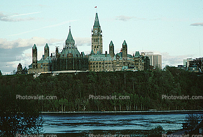 Peace Tower of the Parliament of Canada, government building, Ottawa River, landmark