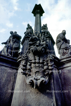 Baroque Plague Column, Statue of Mary with eight patron saints, by Ferdinand Maximilian Brokoff, 1725, Hradcany Square, Prague