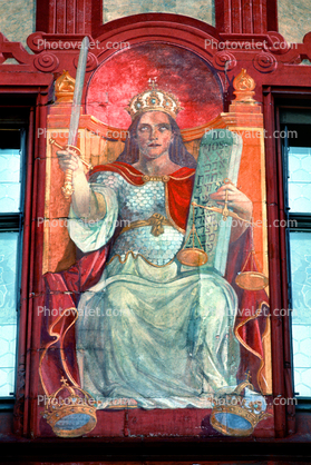 Queen with Sword, commandments, Tablet, Throne, Wall Mural, outdoors