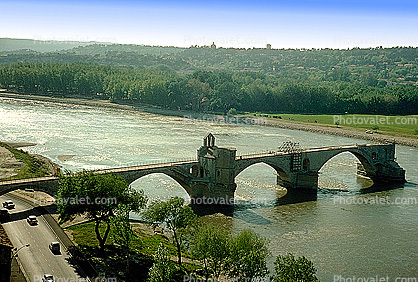 Pont d' Avignon, Saint Benezet, medieval bridge, Chapel of Saint Nicholas, Rhone River, ruins, cars, April 1967, 1960's