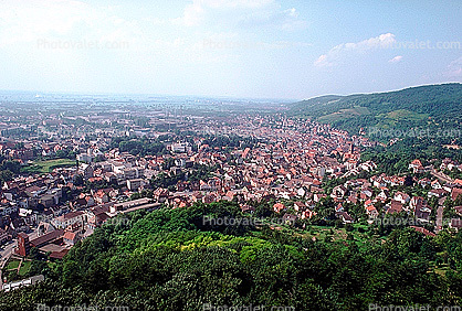 Red Roofs, Valley, Village, Town, Weinheim, Rooftops, Cityscape