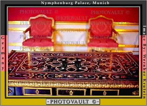Inlaid Table, Chairs, Nymphenburg Castle, Schlo§ Nymphenberg, Munich