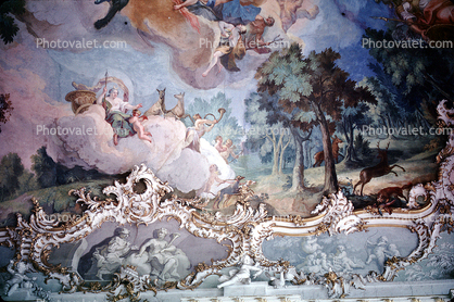 Great Hall in the main palace, ceiling painting, Fresco, Nymphenburg Castle, Schlo§ Nymphenberg, Munich