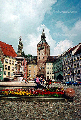 Water Fountain, aquatics, Statue, Buildings, Tower, Town, Landsberg