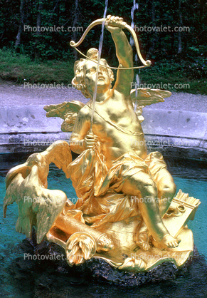 Golden Cupid Statue, Water Fountain, aquatics, Bavaria, Linderhof Palace, Schloss, Museum, Ettal