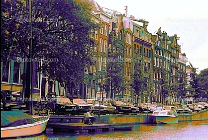 Boats, Canal, Waterway, Homes, Amsterdam