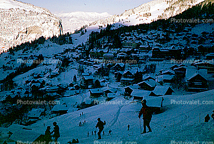 Village, buildings, skiers, Wengen, Switzerland, 1950's