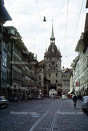 Prison Tower, (Kafigturm), Clock Tower, tracks, buildings, cobblestone, oldtown, Bern, Switzerland