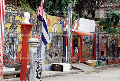 Wall Art, Colorful Buildings, Flag, Old Havana, Buildings, Curb, Sidewalk
