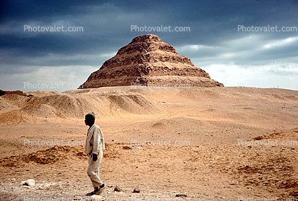 Man Walking, Pyramid of Djoser, Saqqara necropolis, The Step Pyramid of Zozer, 1950's