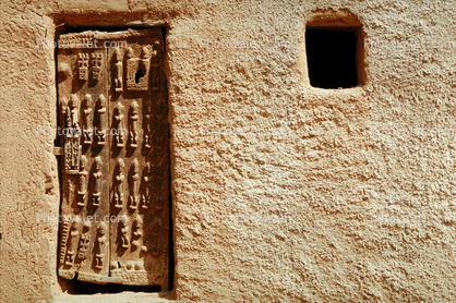 Ornate Door, Entrance, Wall, Doorway, Building, Dogon Country, Mopti Region, Sahil, Sahel