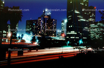 Interstate I-10 freeway, buildings, Union Bank Office Building, cityscape, tower, Bonaventure Hotel, night, nighttime, evening