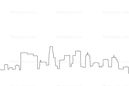 los angeles downtown skyline outline cityscape line drawing shape