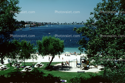 Beach, sand, Lakeshore, Lake, water, buildings, Mission Viejo