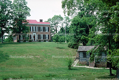 Cabin, dwelling, lawn, house, Building, domestic, domicile, residency, housing, My Old Kentucky Home