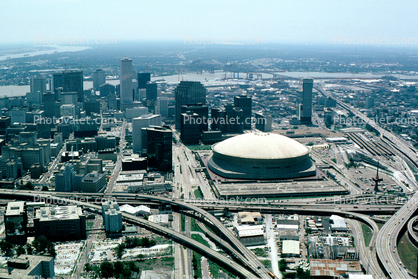 Superdome, buildings, skyline, roads, river