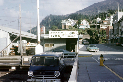 Sourdough Bar and Liquor Store, Tunnel, Phone Booth, dodge van, cars, houses, vehicles, automobiles,  Ketchikan, 1960's