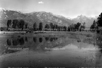 Pond, reflection, Teton Mountain Range, Snake River Ranch