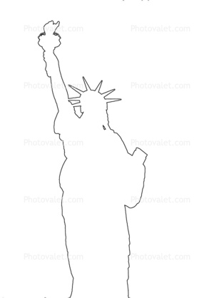 Shape statue of liberty outline line drawing images for Statue of liberty drawing template