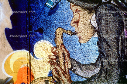 Wall Art, Saxophone player, Lafayette Blvd, Manhattan