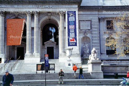 New York City Main Library, steps, statue, Manhattan