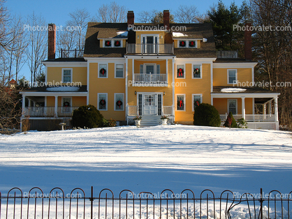 Home, House, Mansion, Snow, Cold, Ice, Chill, Chilly, Chilled, Cool, Frigid, Frosty, Frozen, Icy, Nippy, Snowy, Winter, Wintry, Colonial