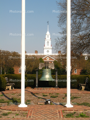 Flagpoles, replica Liberty Bell, State Capitol Building, Dover