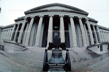 Liberty Bell recreation, The Treasury Department, Government Building, columns, stairs