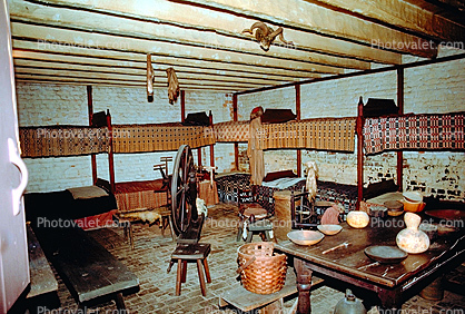 Spining Wheel, Bunk Bed, Table, Pottery, Dishes, bucket