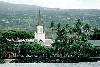 church, Cathedral, Christian, steeple, building, palm trees, mountain, Religion, Religious, Building