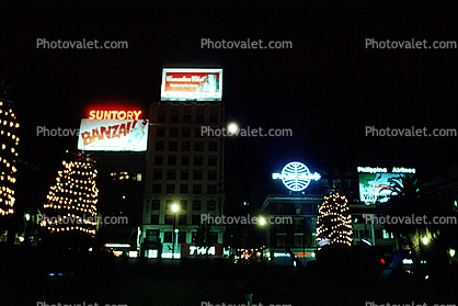 Union Square, Night, Nightime, Exterior, Outdoors, Outside, Nighttime, Billboards, Buildings, Lights, PanAm, Suntory, downtown, downtown-SF
