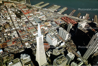 downtown and North-Beach, Transamerica Pyramid, Downtown-SF, piers, docks, downtown