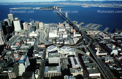 buildings, skyline, SOMA, freeway, December 7 1988, 1980's