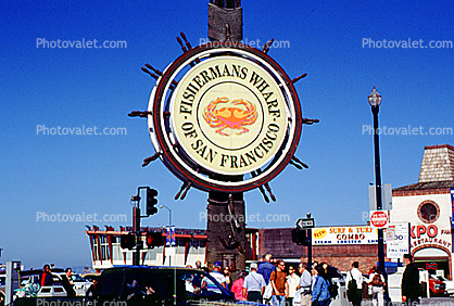 Fisherman's Wharf icon, signage, symbol, Sign, logo, crab, steering wheel