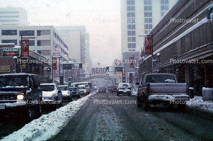 Reno Arch, Virginia Street, Downtown, snow, blizzard, sleet, storm, Cold, Ice, Winter, Wintry, Cars, vehicles, Automobile