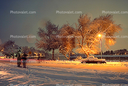 Lake, trees, pickup truck, Twilight, Dusk, Dawn, snow, blizzard, sleet, storm, Cold, Ice, Frozen, Icy, Snowy, Winter, Wintry