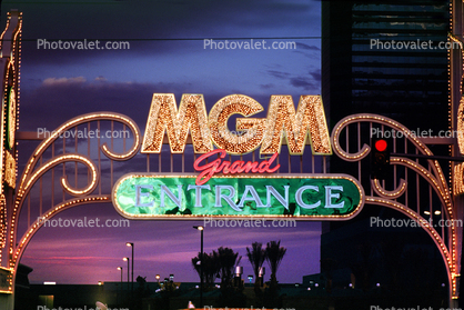 MGM Grand Entrance arch, Night, Nighttime, Neon Lights, hotel, glitter