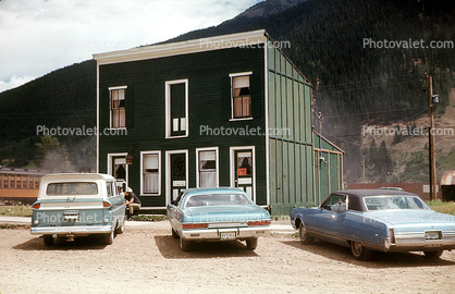 building, parked Cars, vehicles, July 1969, 1960's, Cars