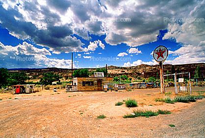 Texaco Gas Station, clouds, building, signage, desert, Dewey