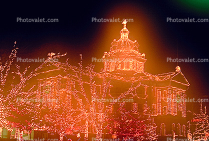 Decorated Building, Marshall, Texas, Trees, Lights